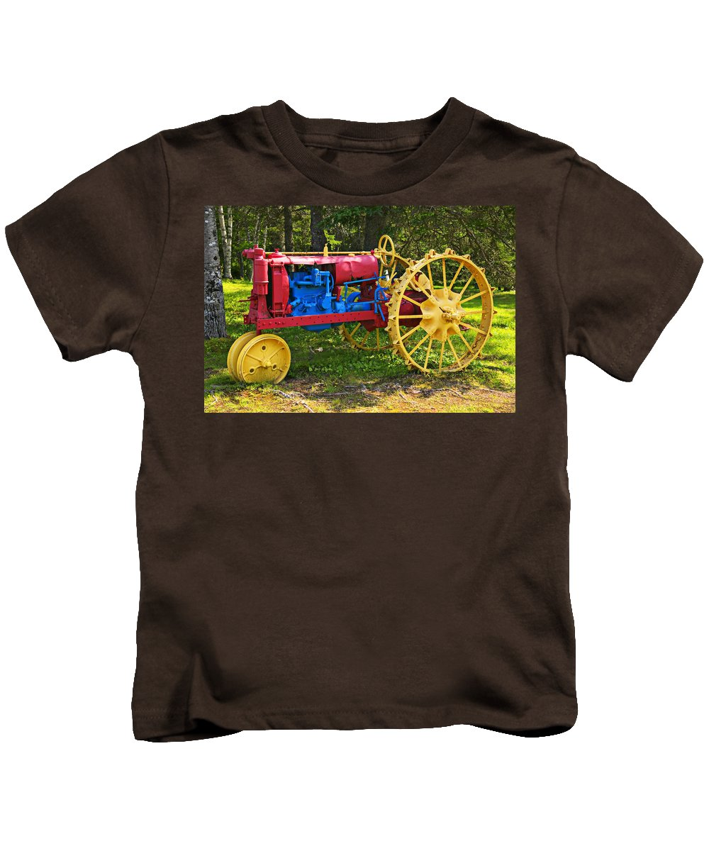 Tractor Kids T-Shirt featuring the photograph Red And Yellow Tractor by Garry Gay
