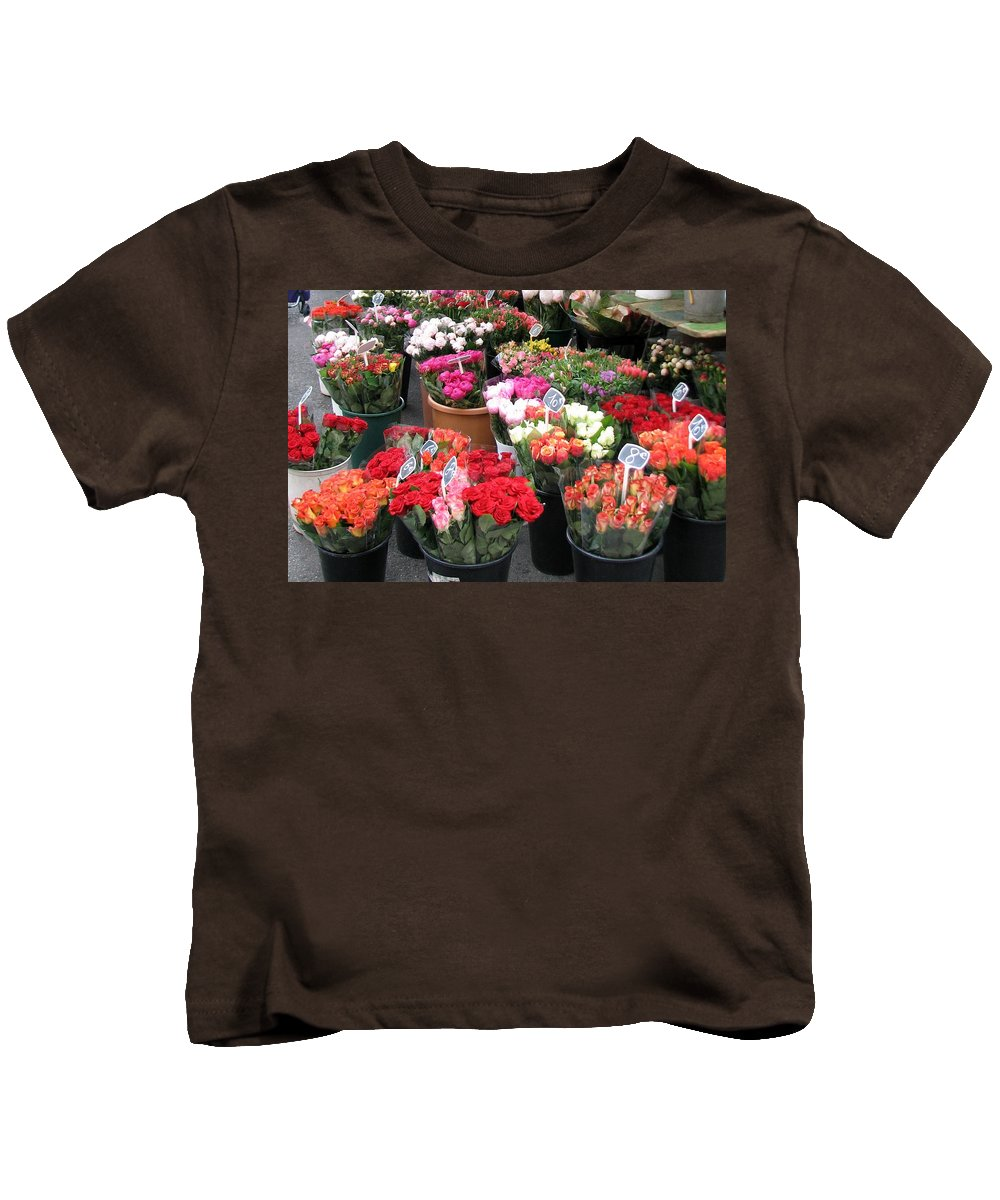 Flower Kids T-Shirt featuring the photograph Red Flowers In French Flower Market by Carla Parris