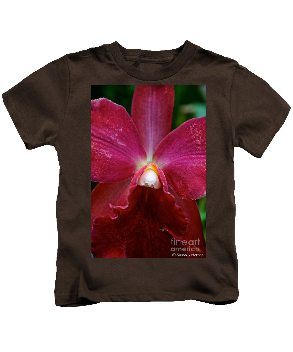 Tropical Plant Kids T-Shirt featuring the photograph Red Orchid by Susan Herber