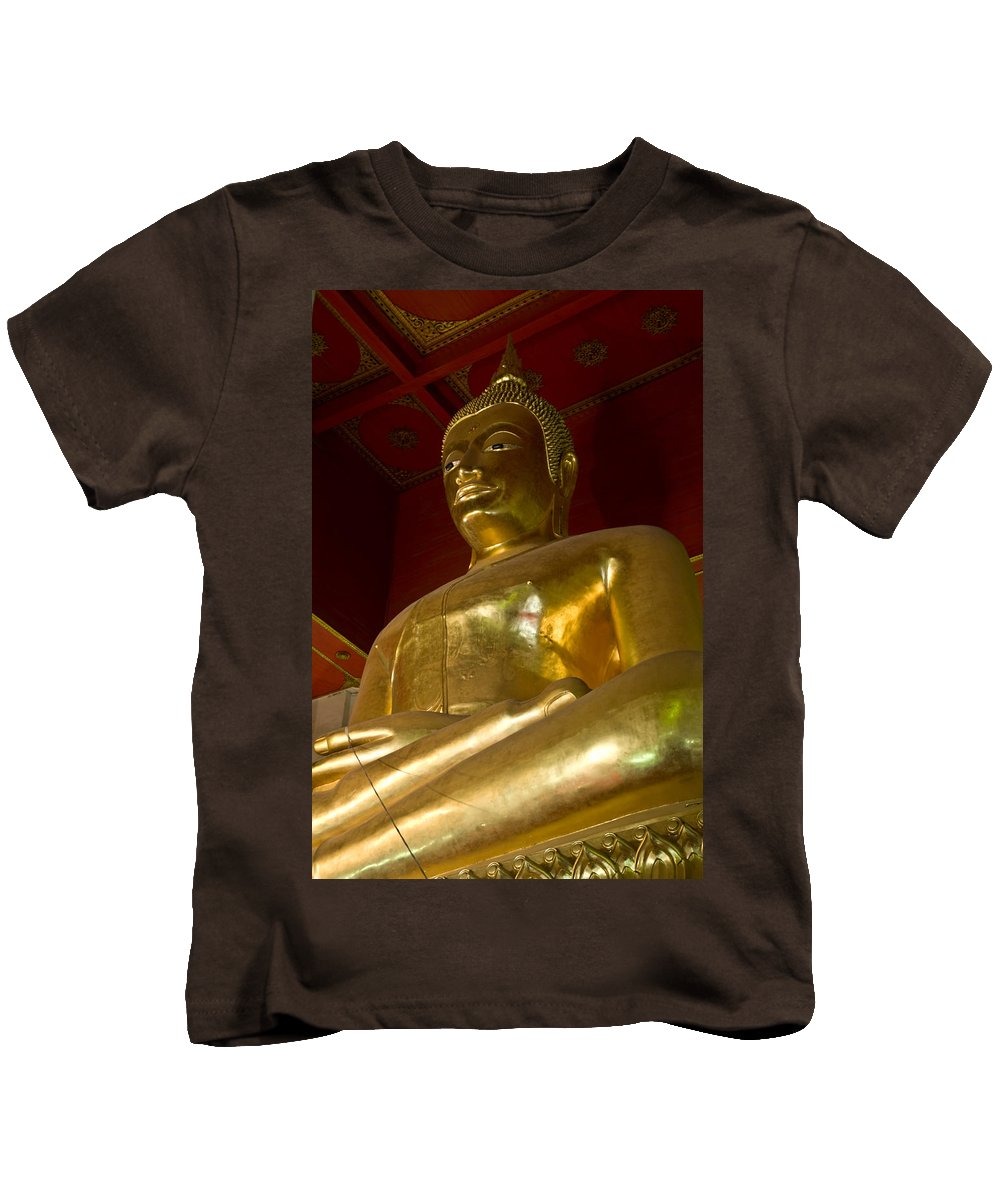 Ancient Kids T-Shirt featuring the photograph Red Roofed Hall With Ornaments And A Tall Golden Buddha Statue by U Schade