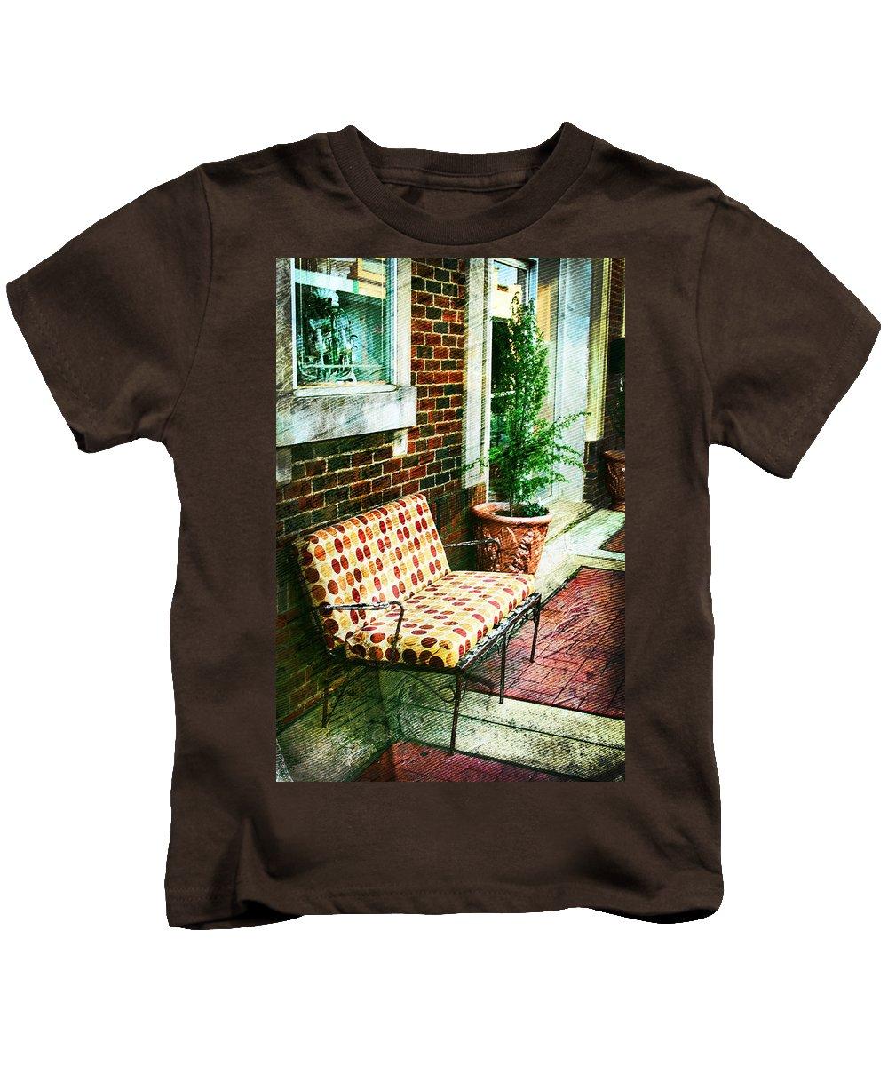 Retro Kids T-Shirt featuring the photograph Retro Grunge Sidewalk Bench Seat by Kathy Clark