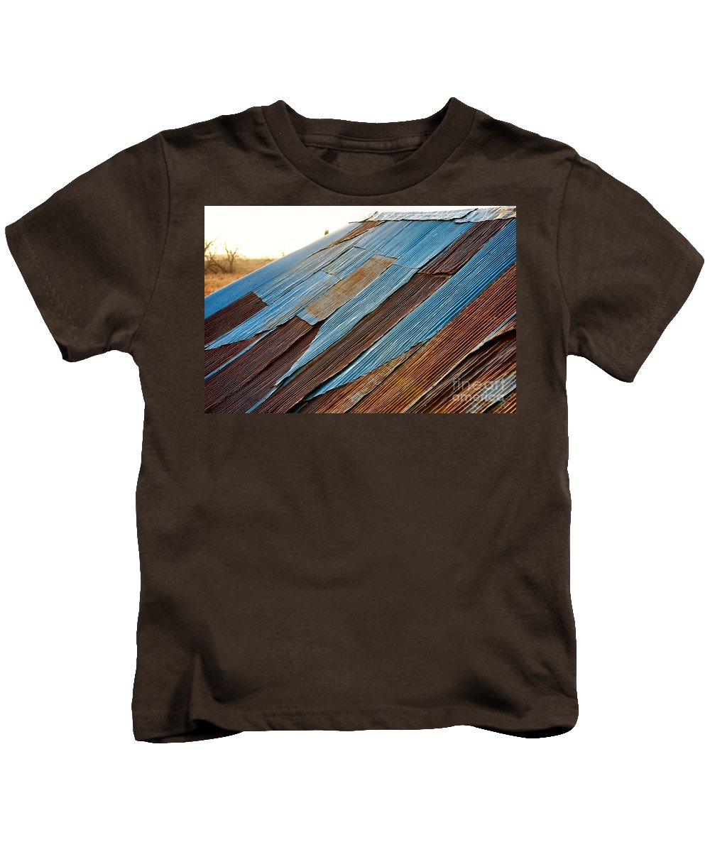 Tin Roof Kids T-Shirt featuring the photograph Rippled Roof by Anjanette Douglas