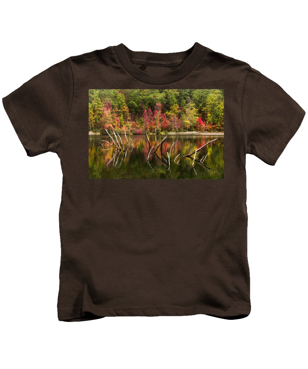 Appalachia Kids T-Shirt featuring the photograph River Ghosts by Debra and Dave Vanderlaan