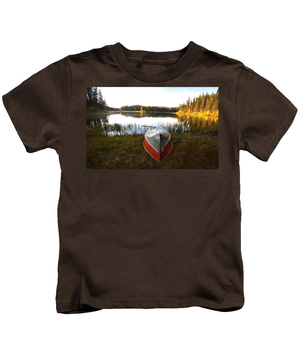 Rowboat Kids T-Shirt featuring the photograph Rowboats At Jade Lake In Northern Saskatchewan by Mark Duffy