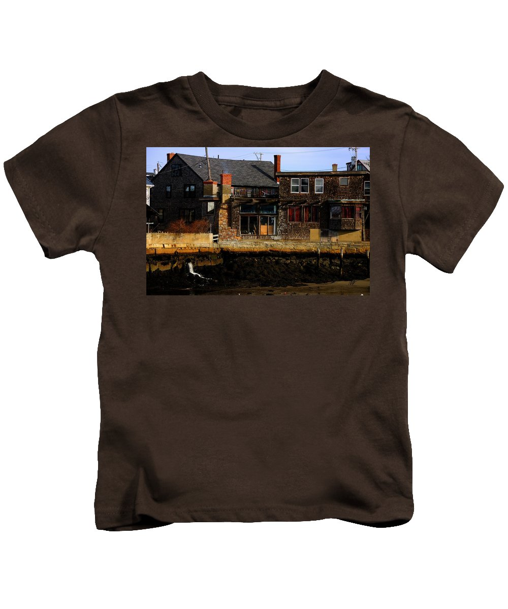 Rockport Kids T-Shirt featuring the photograph Rustic Waterfront by Mark Valentine