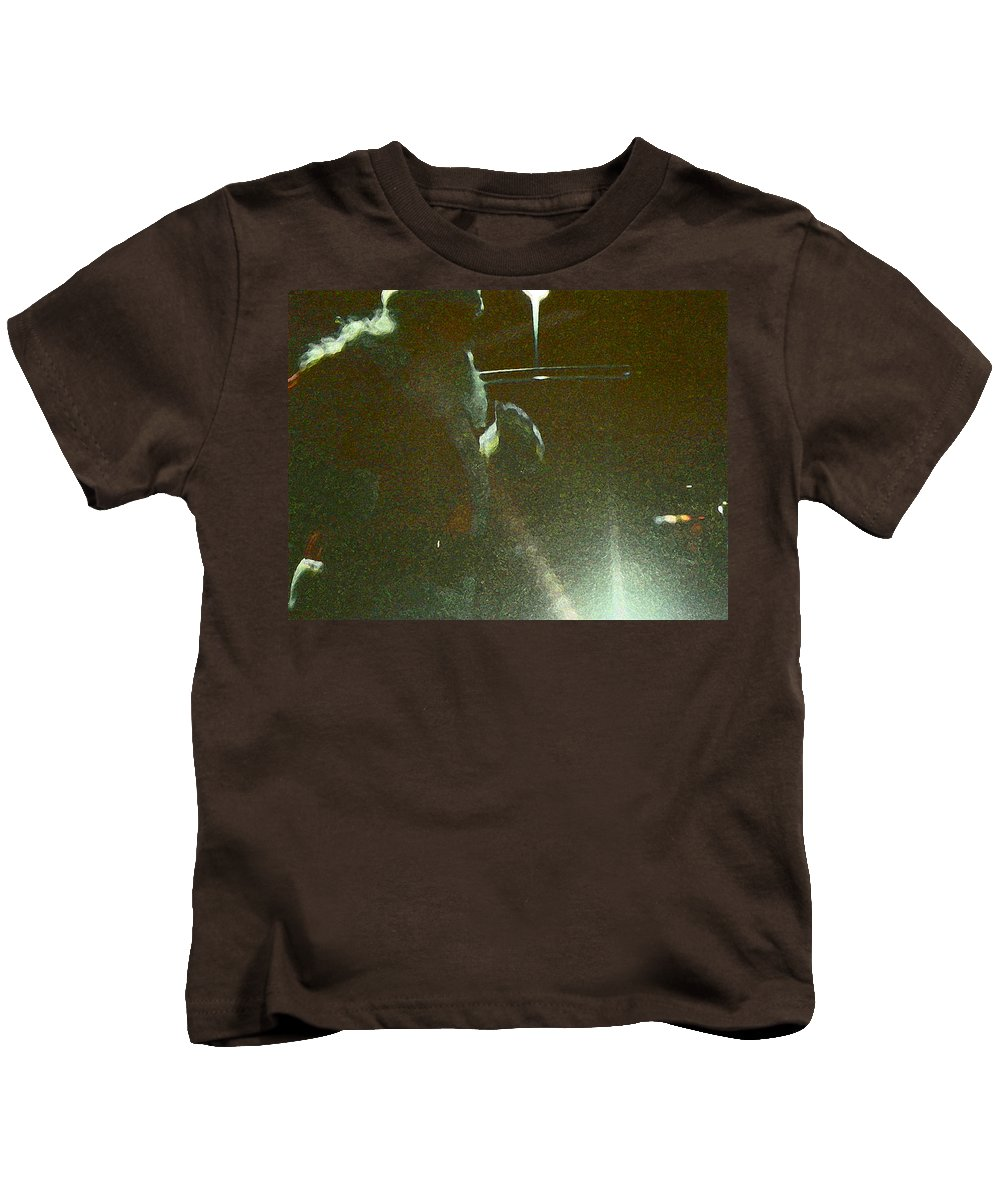 Abstract Kids T-Shirt featuring the photograph Santa On The Go by Lenore Senior