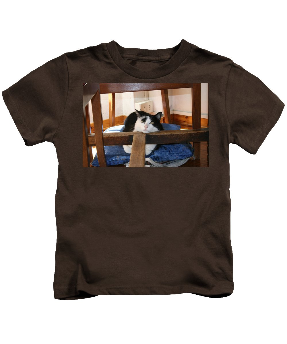 Tavolo Kids T-Shirt featuring the photograph Sotto La Tavola by Tila Gun