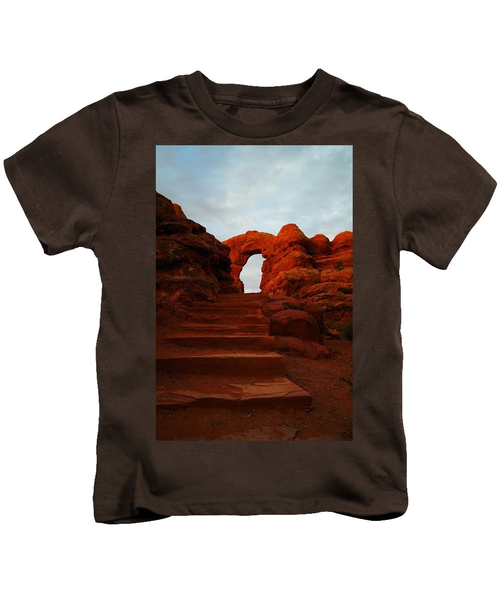 Stairs Kids T-Shirt featuring the photograph Stairwell To The Gods by Jeff Swan