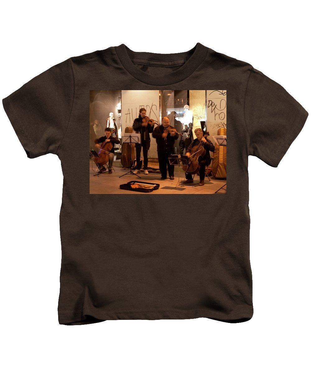 Madrid Kids T-Shirt featuring the photograph Street String Quartet by Lorraine Devon Wilke
