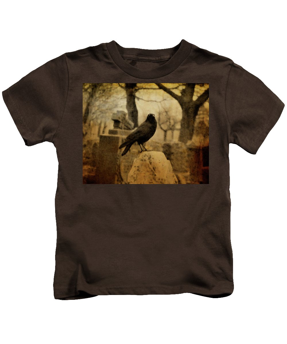 Raven Kids T-Shirt featuring the photograph Study Of The Surly Raven by Gothicrow Images