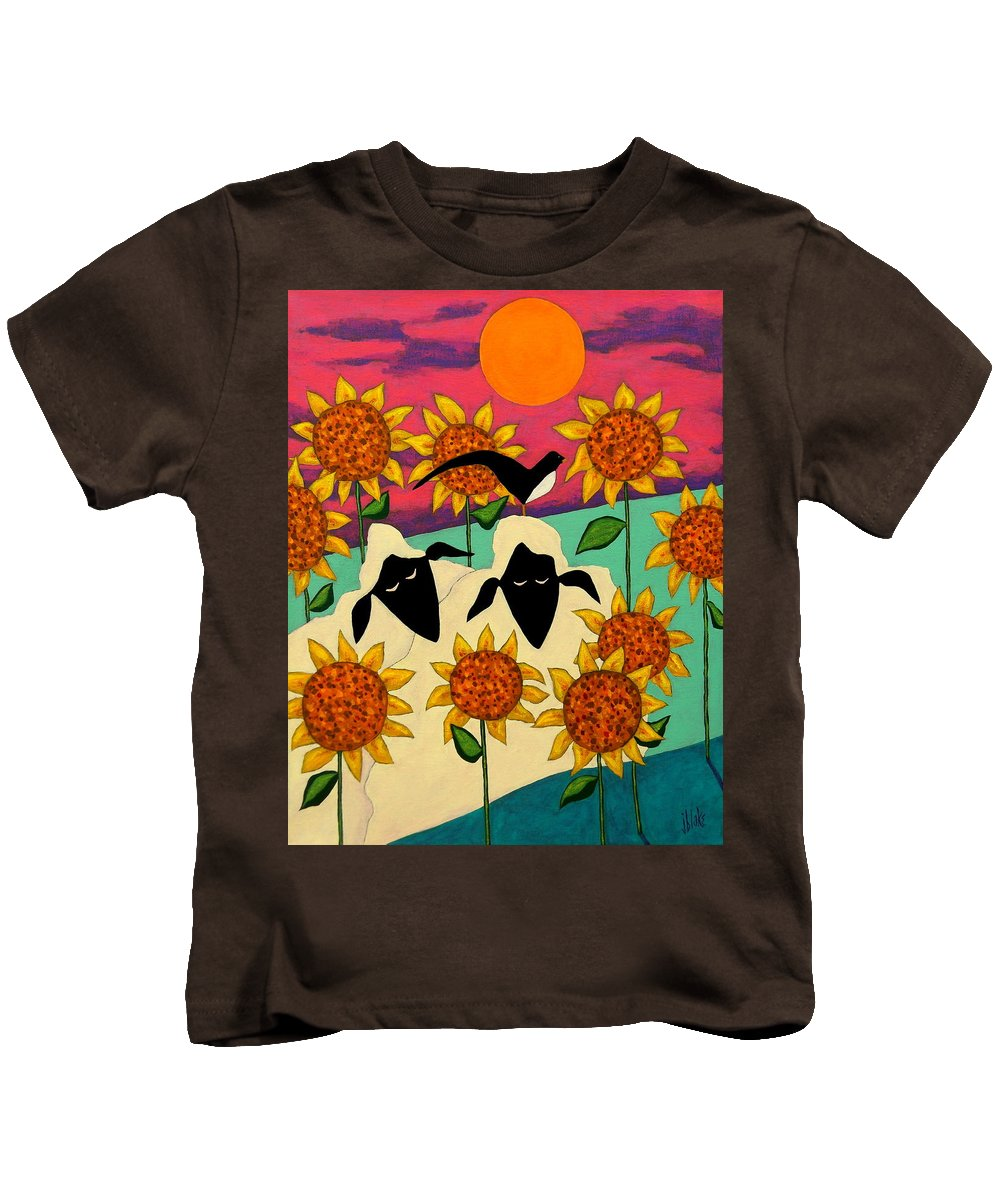 Folk Art Flowers Kids T-Shirt featuring the painting Sunny Disposition by John Blake