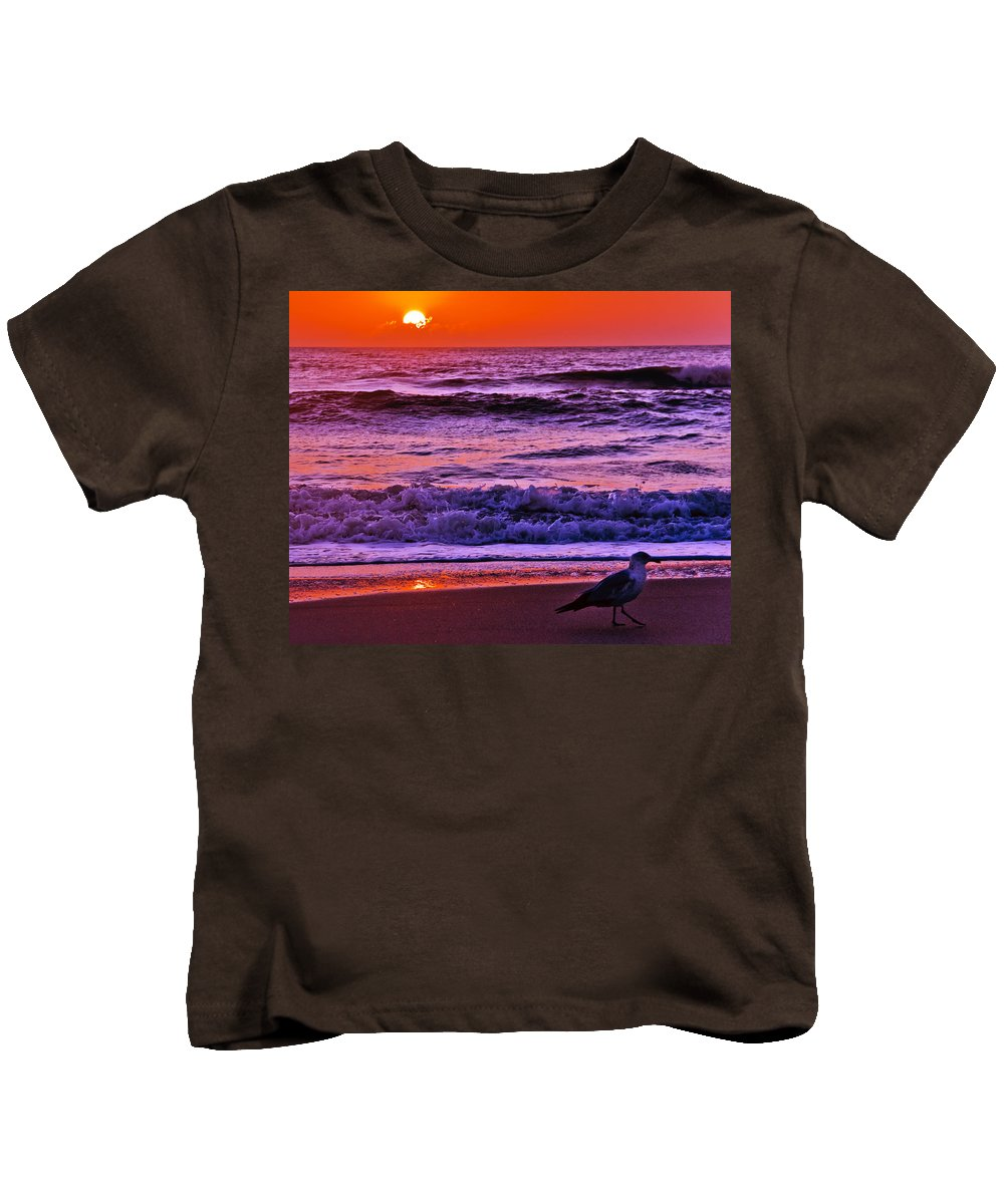 Florida Kids T-Shirt featuring the photograph Sunrise Sea And Seagull by Roger Wedegis