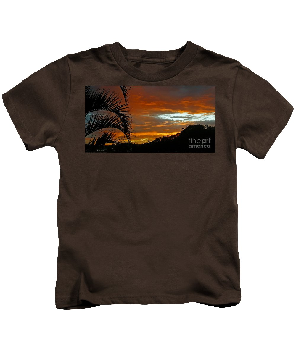 Photography Kids T-Shirt featuring the photograph Sunset Behind The Palms by Kaye Menner