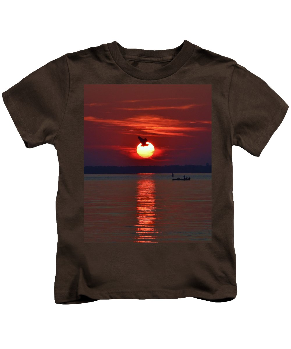 Avian Kids T-Shirt featuring the photograph Sunset Fishing by William Bartholomew