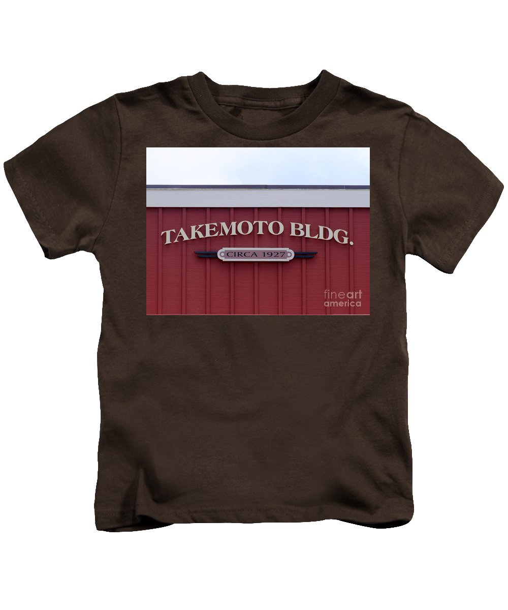 Mary Deal Kids T-Shirt featuring the photograph Takemoto Bldg Circa 1927 by Mary Deal