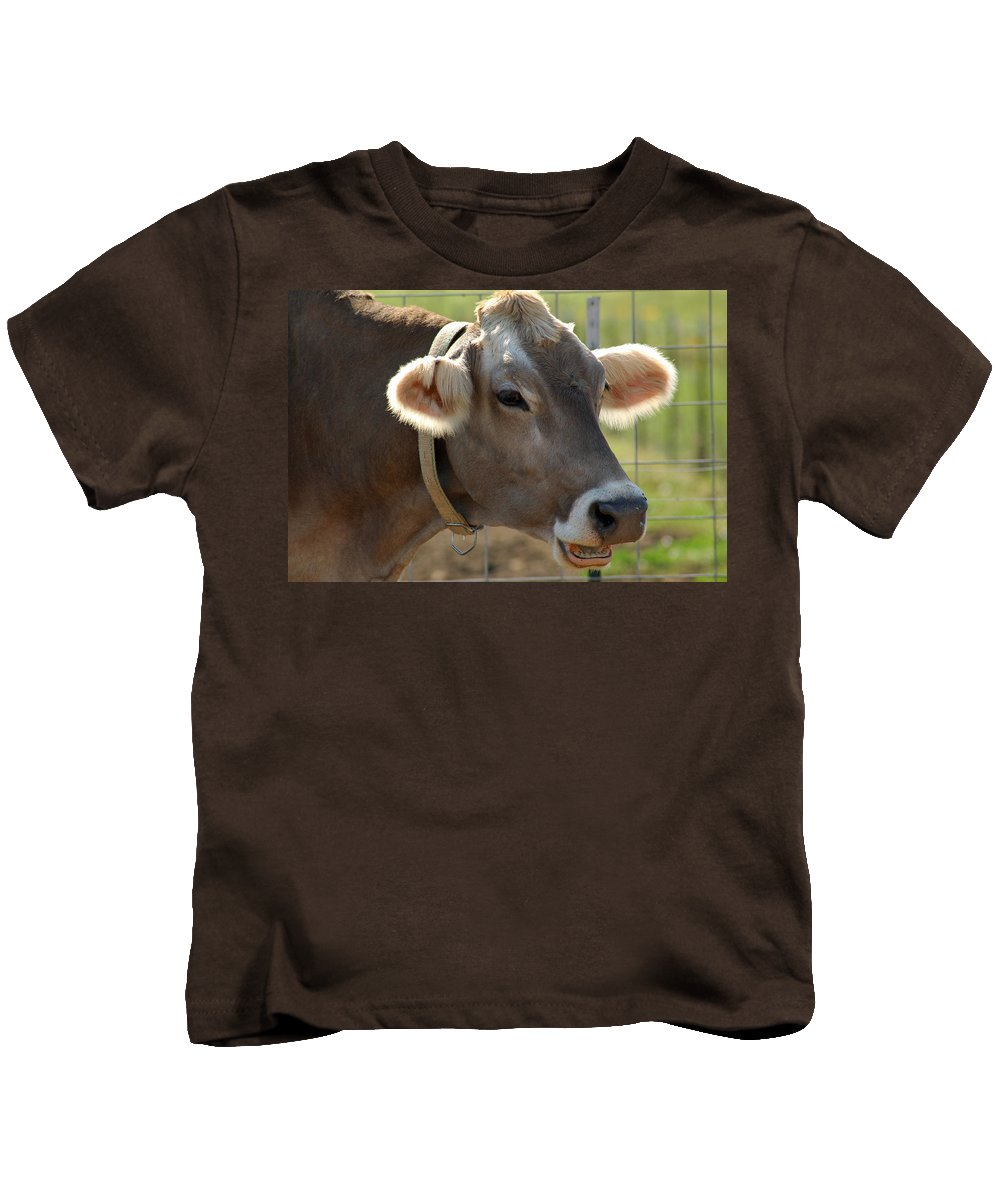 Animals Kids T-Shirt featuring the photograph Talking Cow by LeeAnn McLaneGoetz McLaneGoetzStudioLLCcom