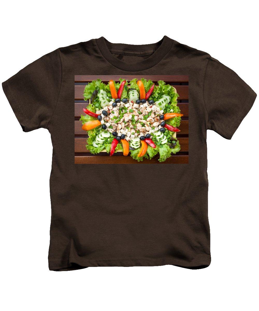 Chicken Kids T-Shirt featuring the photograph Tasty Chicken Salad by Ari Salmela