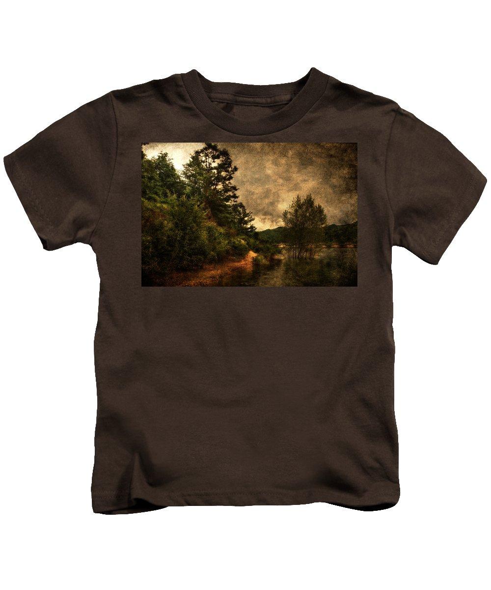 Brugneto Lake Kids T-Shirt featuring the photograph Textured Lake by Roberto Pagani