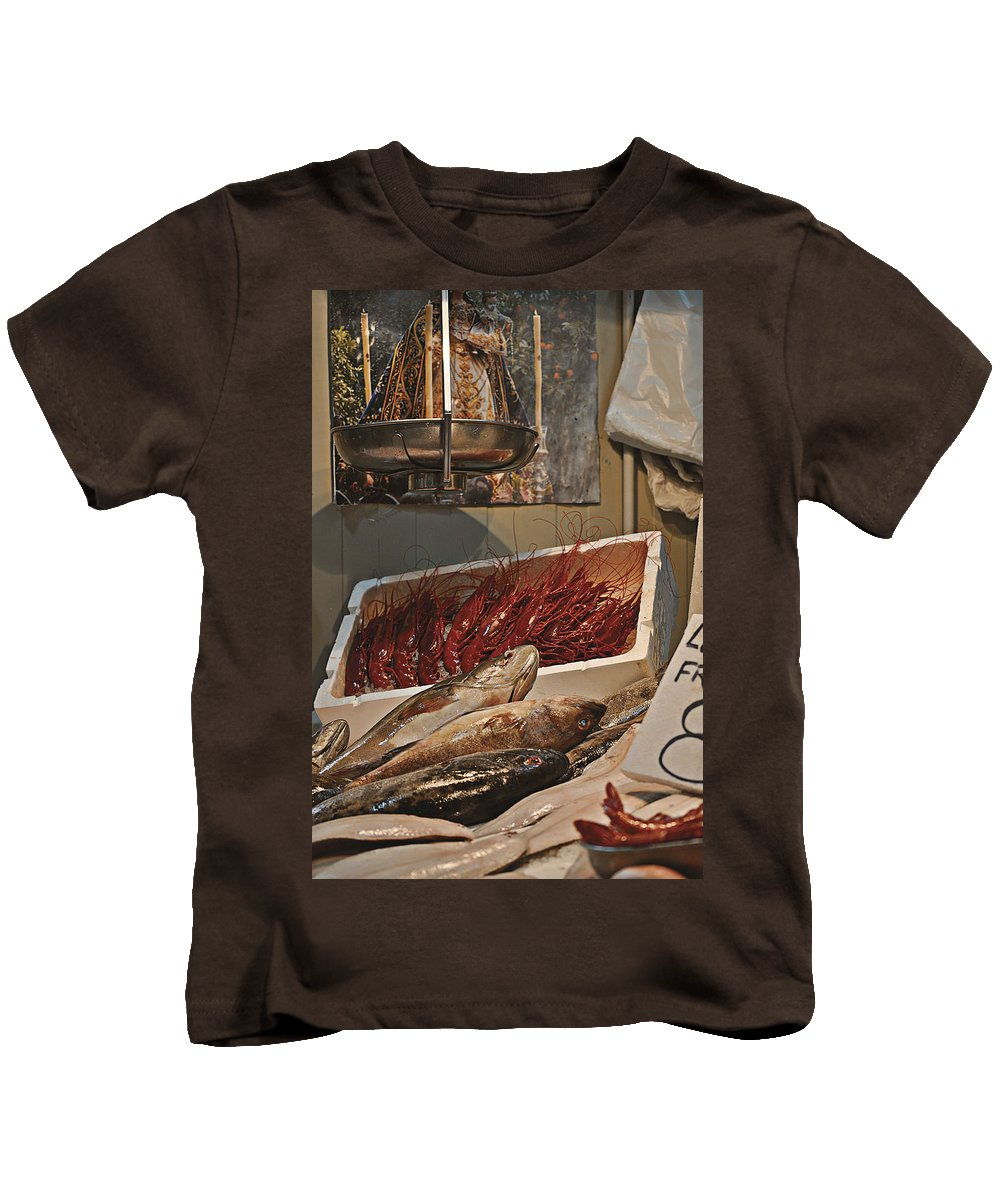 The Blessed Fish Market Kids T-Shirt featuring the photograph The Blessed Fish Market by Mary Machare