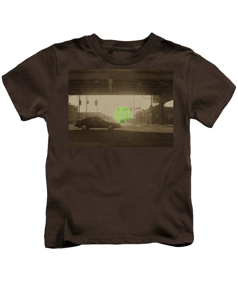 City Kids T-Shirt featuring the photograph The Circle Green - Urban Perspective by Kathleen Grace