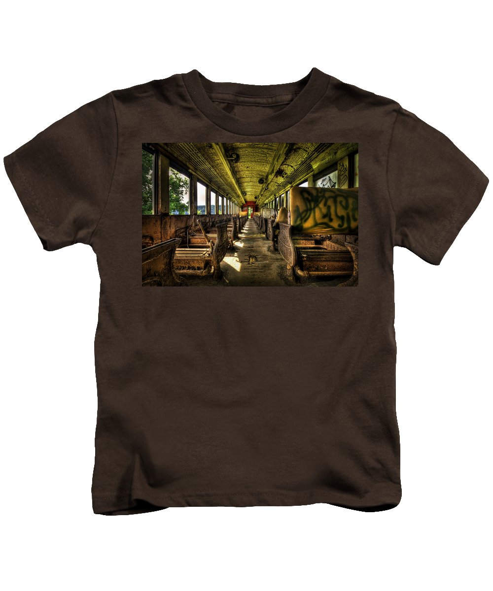Train Kids T-Shirt featuring the photograph The Journey Ends by Evelina Kremsdorf
