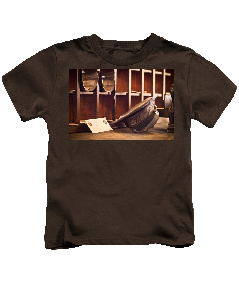 Vintage Mailman Hat Kids T-Shirt featuring the photograph The Mailman by Carolyn Marshall