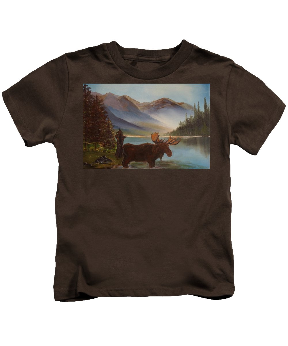 Moose Art Kids T-Shirt featuring the painting The Mountain Moose by Leslie Allen