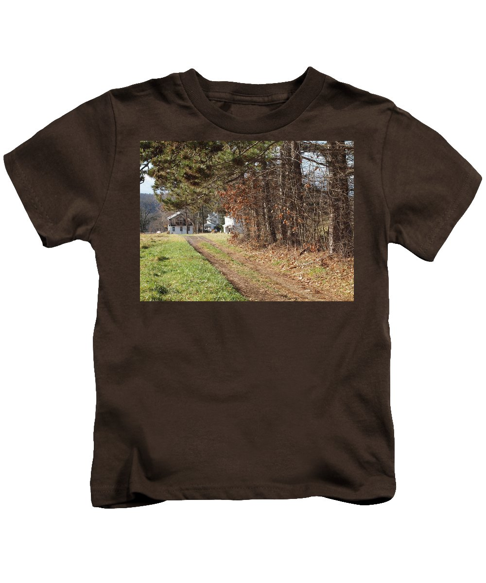 Farms Photographs Kids T-Shirt featuring the photograph The Road To Redemtion by Robert Margetts