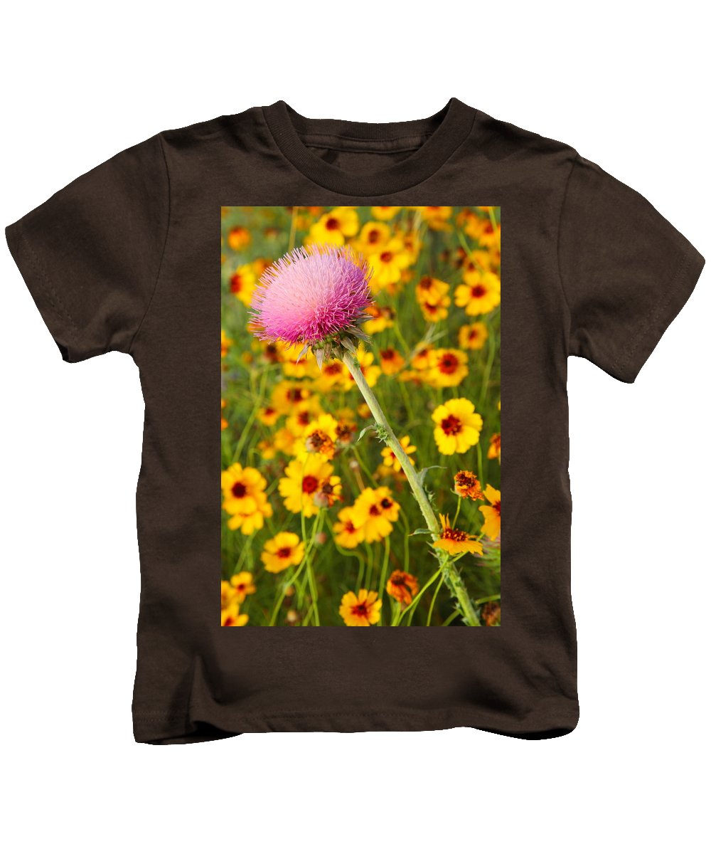 Texas Kids T-Shirt featuring the photograph Thistle And Coreopsis 2am-110455 by Andrew McInnes