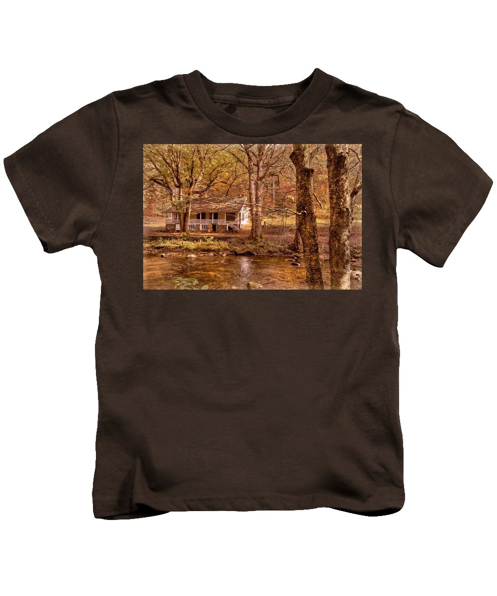 20 Mile Cascade Kids T-Shirt featuring the photograph Through The Woods by Debra and Dave Vanderlaan