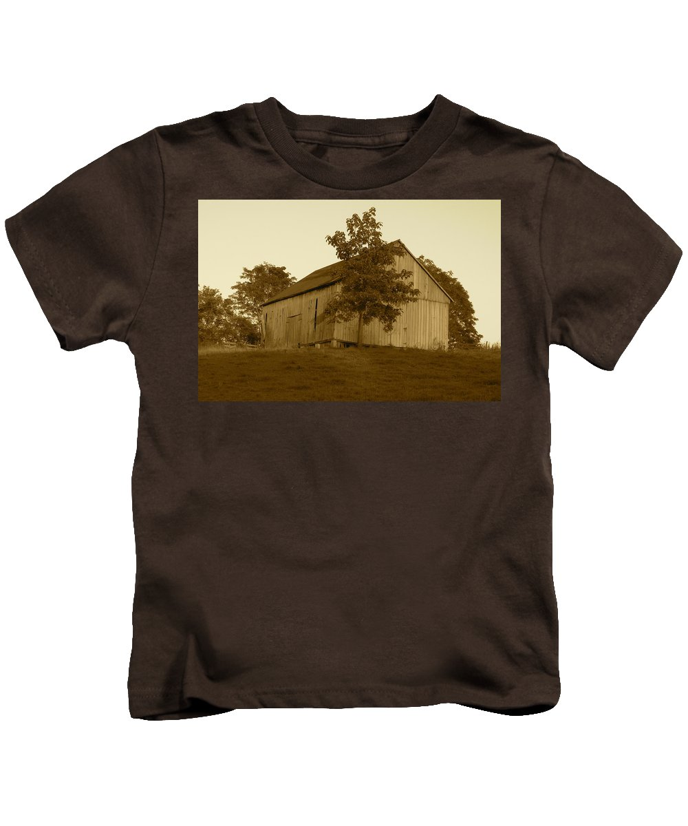 Sepia Kids T-Shirt featuring the photograph Tobacco Barn II In Sepia by JD Grimes