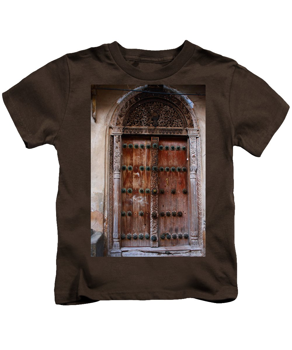 Traditional Carved Door Kids T-Shirt featuring the photograph Traditional Carved Door by Aidan Moran
