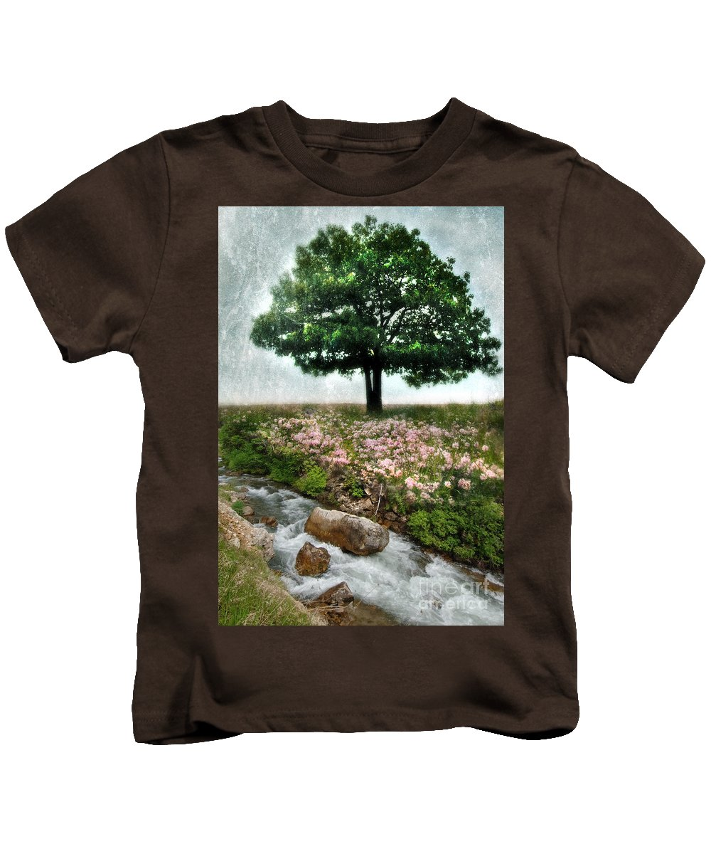 Water Kids T-Shirt featuring the photograph Tree By Stream by Jill Battaglia