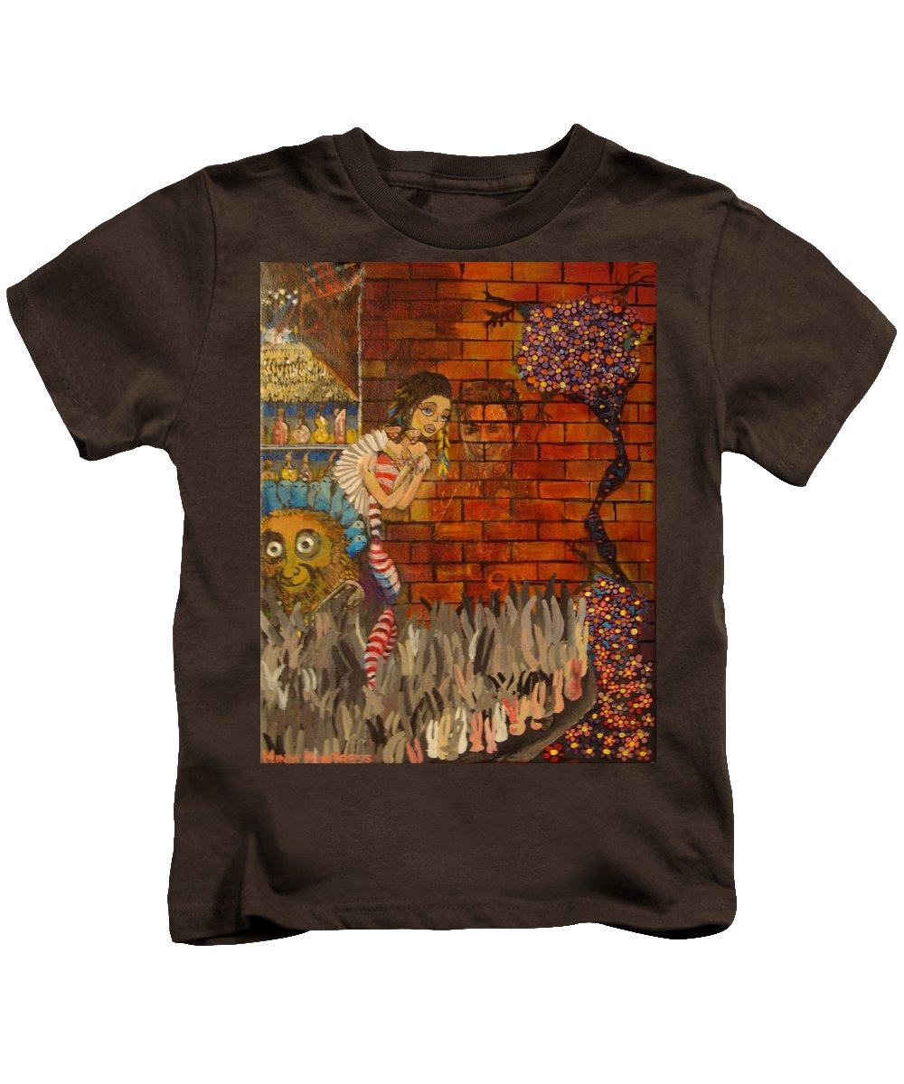 Surreal Kids T-Shirt featuring the painting Twisted And Empty by Mindy Huntress