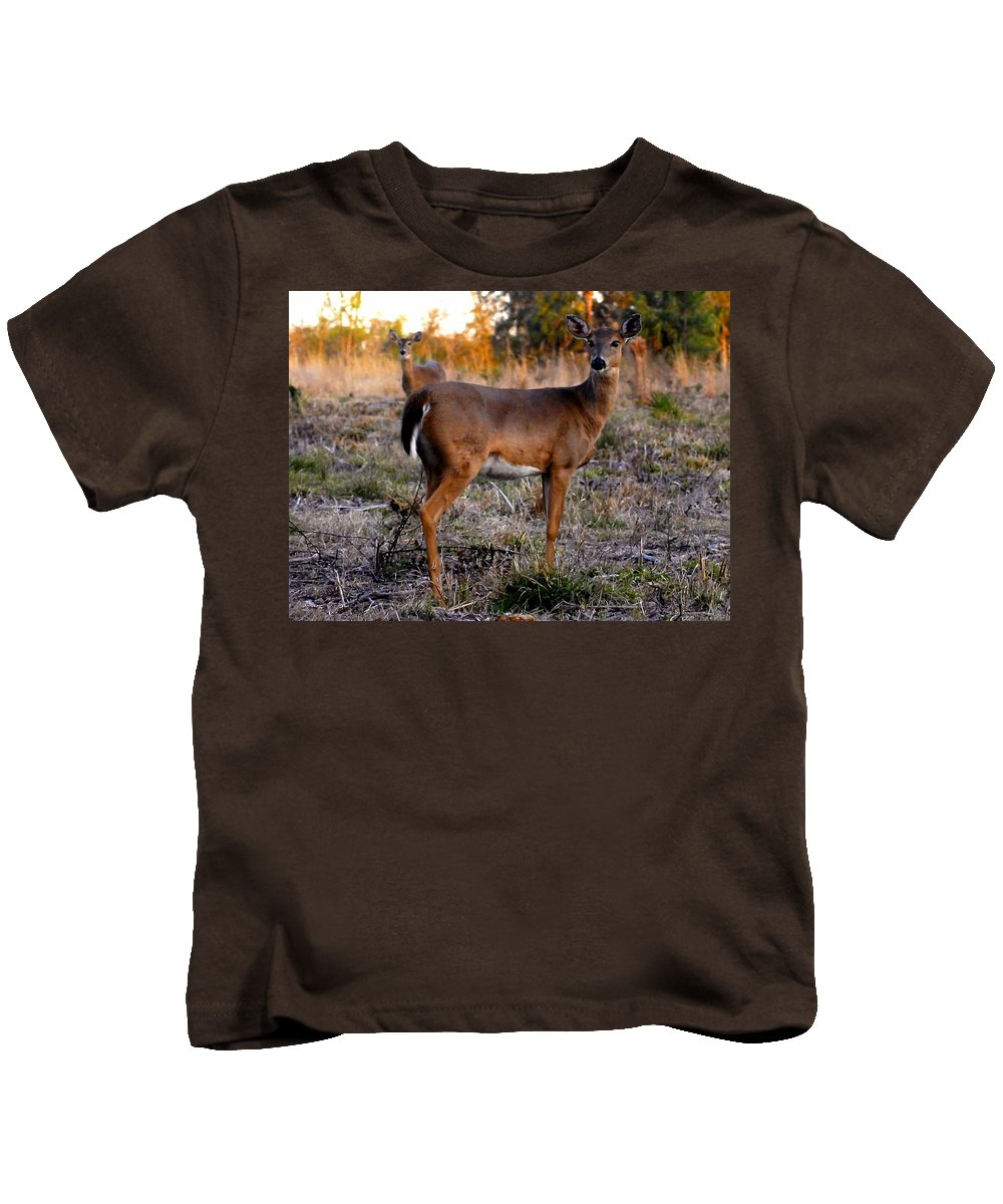 Fine Art Photography Kids T-Shirt featuring the photograph Two White Tails by David Lee Thompson