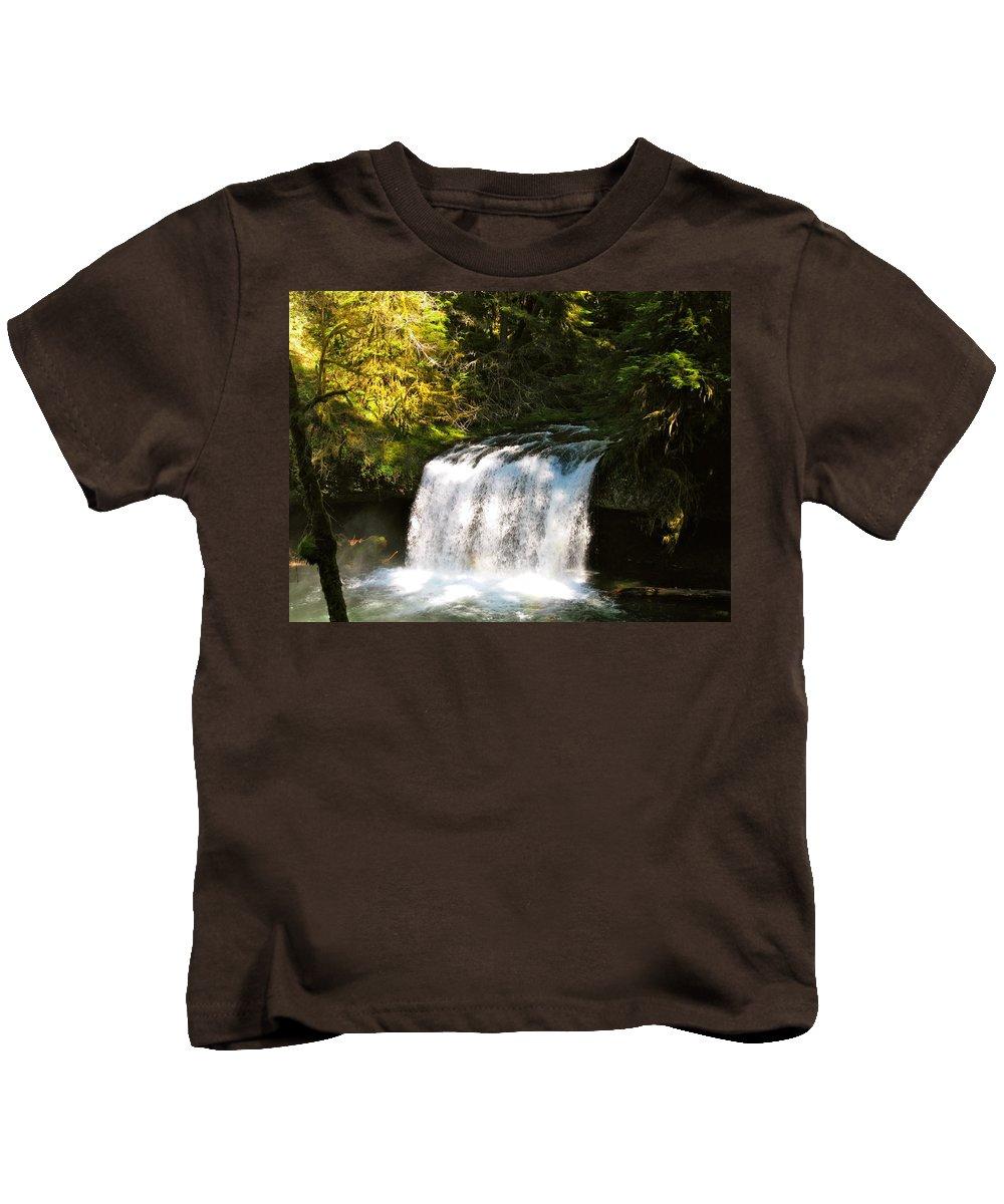 Butte Kids T-Shirt featuring the photograph Upper Butte Creek Falls 3 by Linda Hutchins