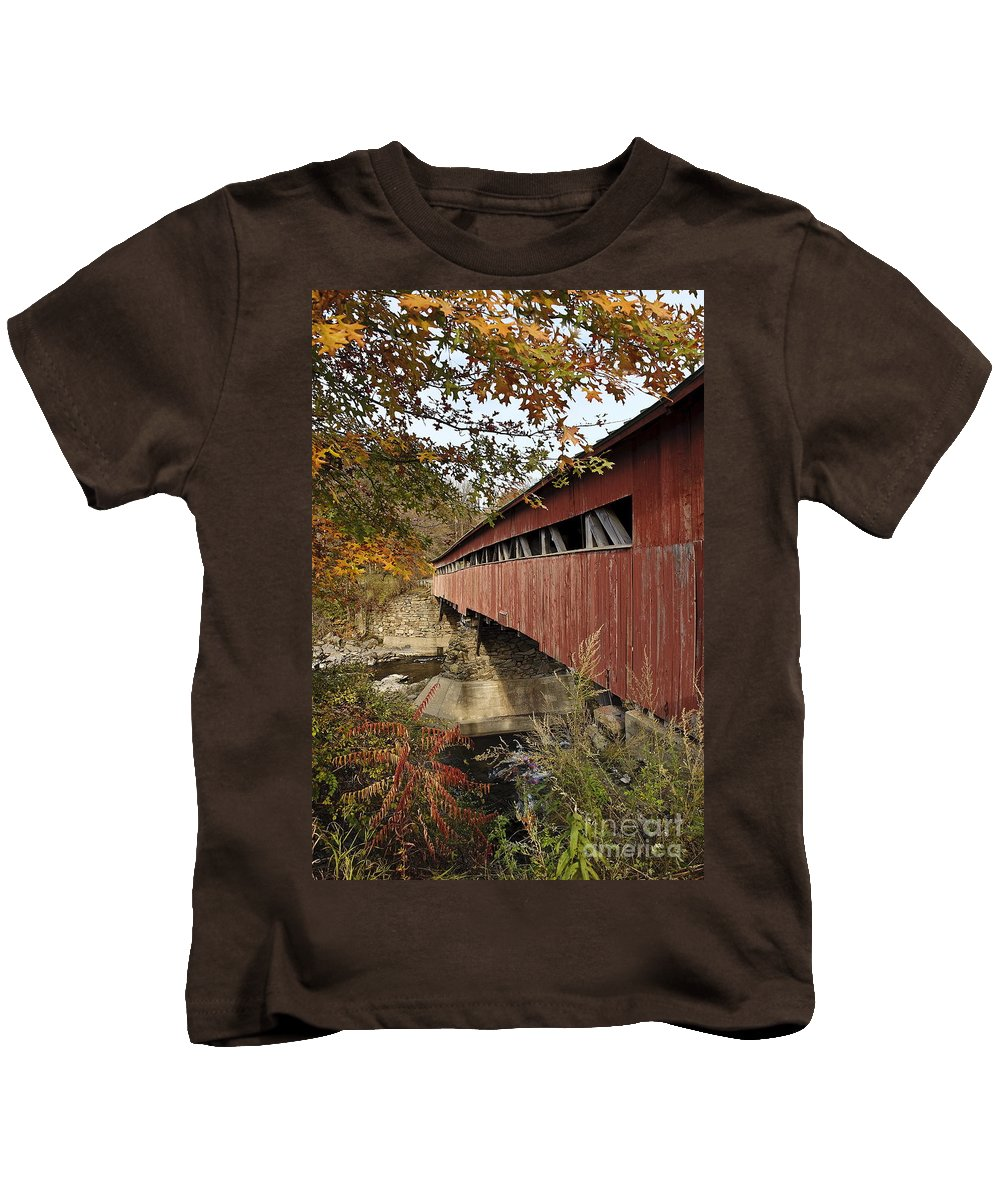 New England Kids T-Shirt featuring the photograph Vermont Covered Bridge by John Greim