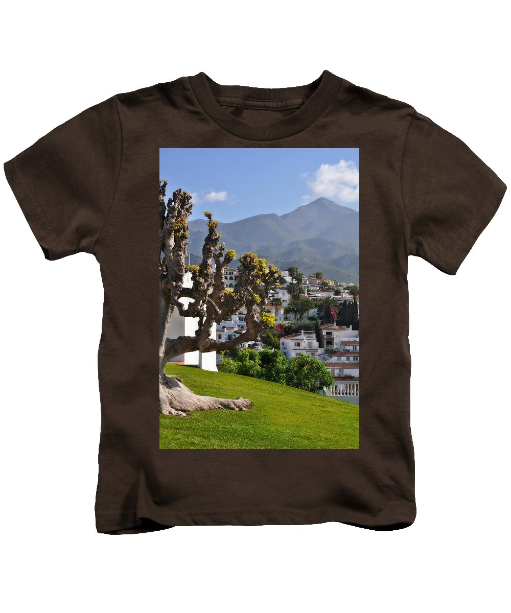 View From The Parador Nerja Kids T-Shirt featuring the photograph View From The Parador Nerja by Mary Machare