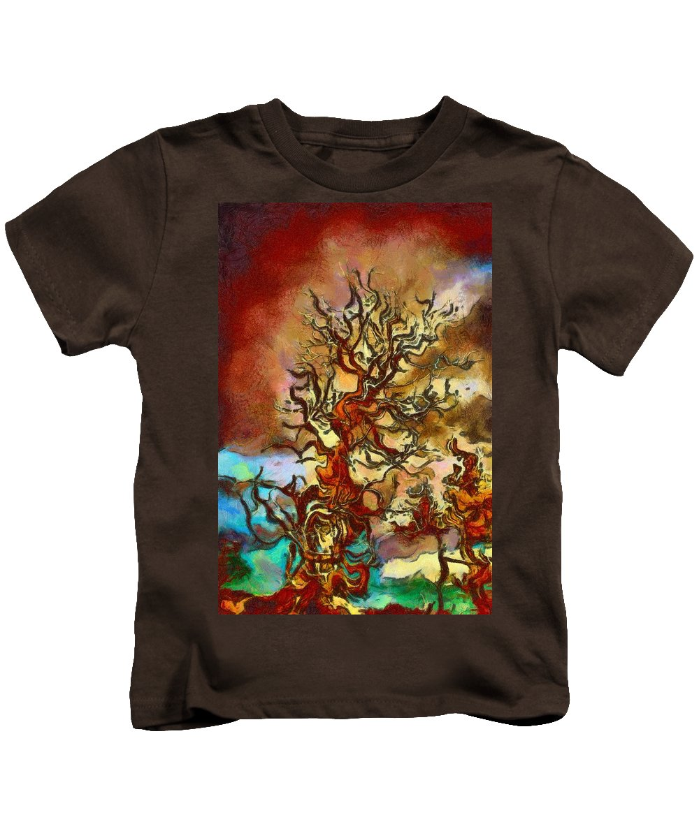 Digital Painting Kids T-Shirt featuring the painting What Was Left by Sarah Wiggins