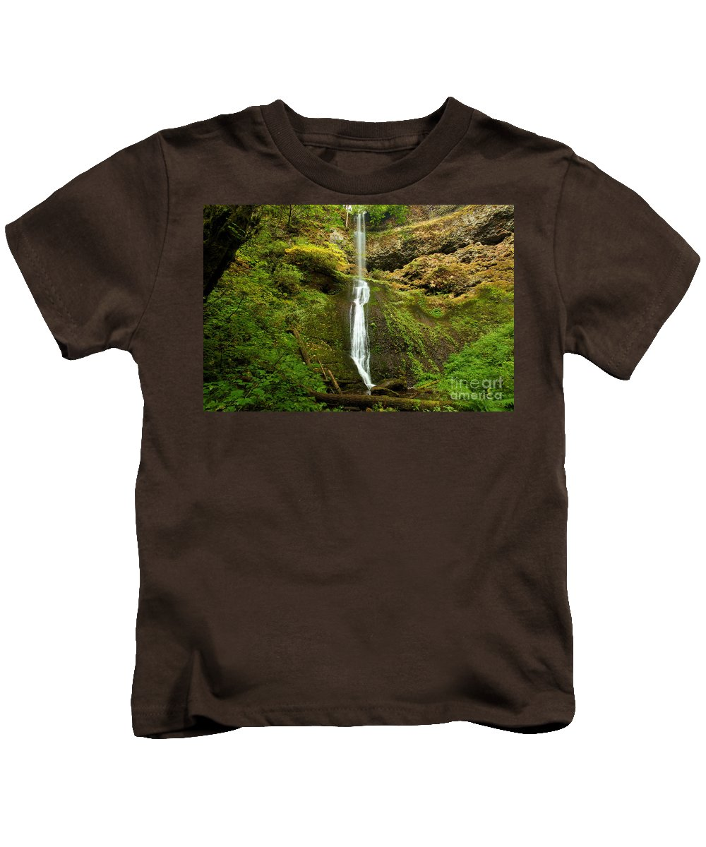 Winter Falls Kids T-Shirt featuring the photograph Winter Falls by Adam Jewell