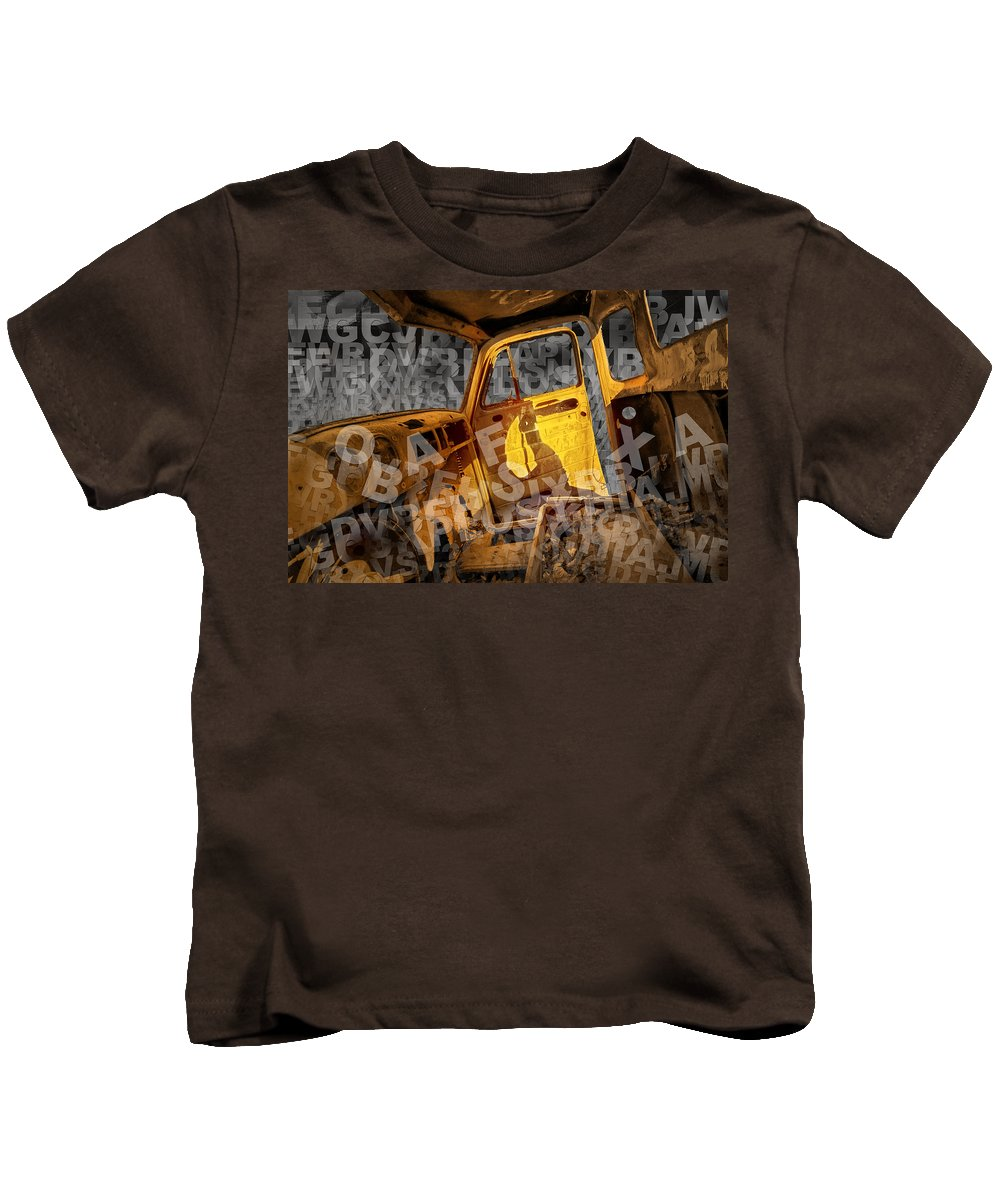 Art Kids T-Shirt featuring the photograph Wreck On The Information Highway by Randall Nyhof