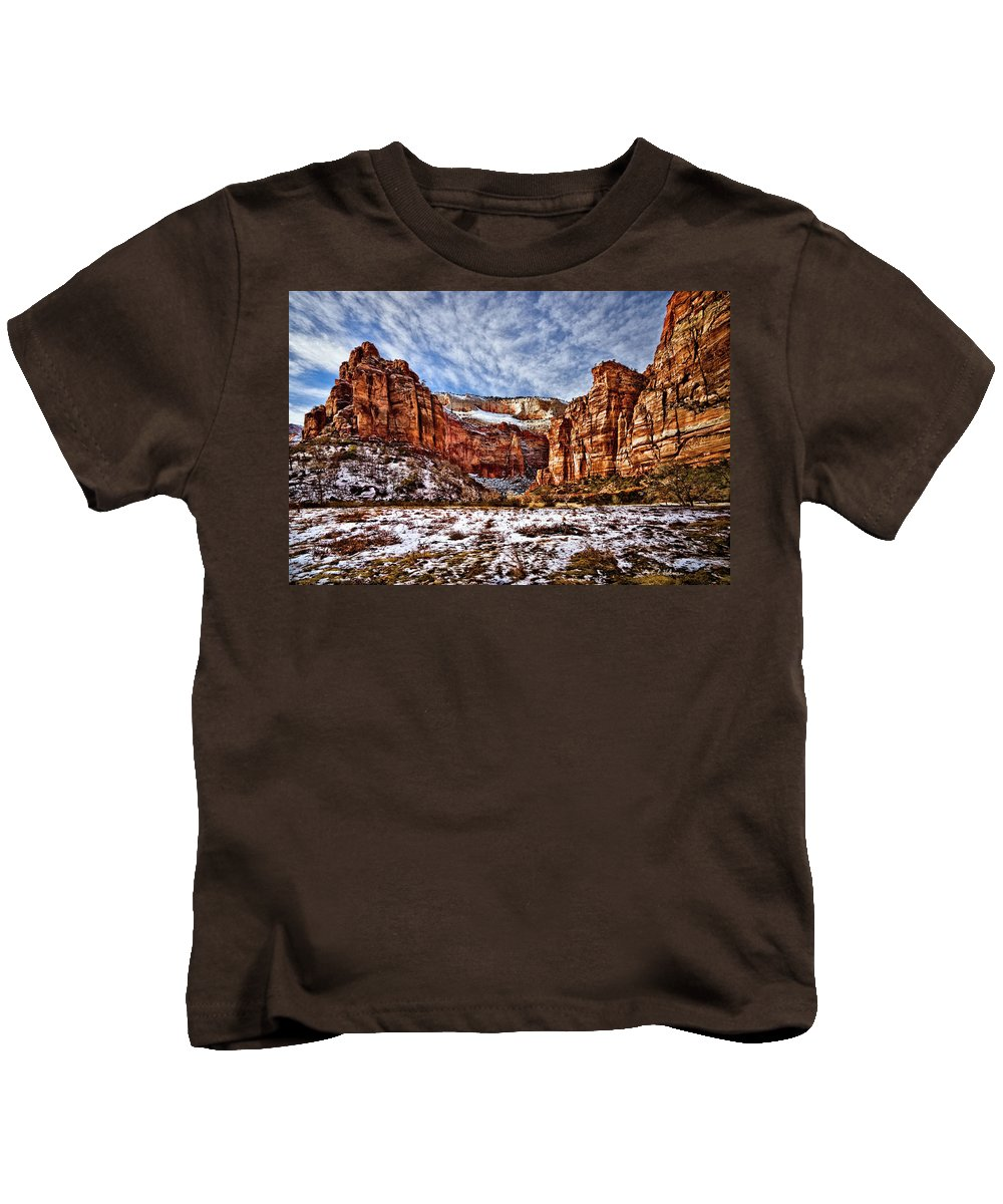 Mountain Kids T-Shirt featuring the photograph Zion Canyon In Utah by Christopher Holmes