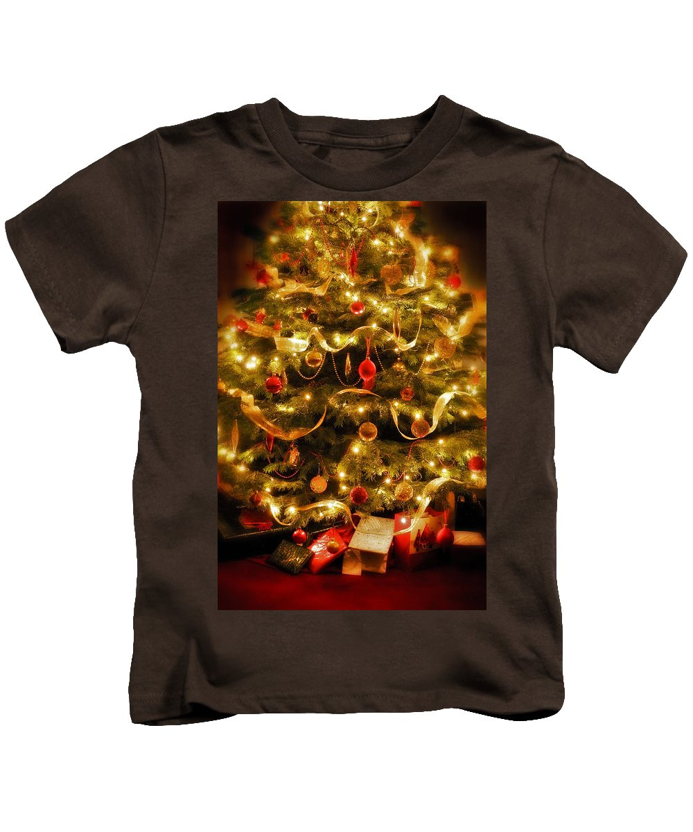 Victorian Christmas Tree Xmas Baubles Gifts Presents Decorations Ribbon Pine Needles Fairy Lights Kids T-Shirt featuring the photograph Christmas Tree by Mal Bray