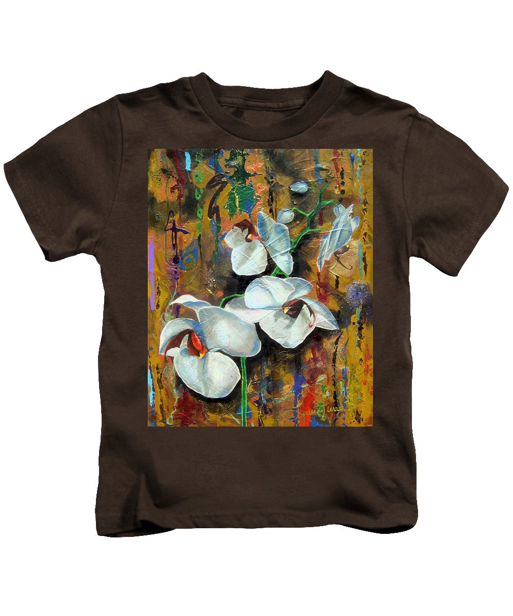 Flowers Kids T-Shirt featuring the painting Orchid Yo by Laura Pierre-Louis