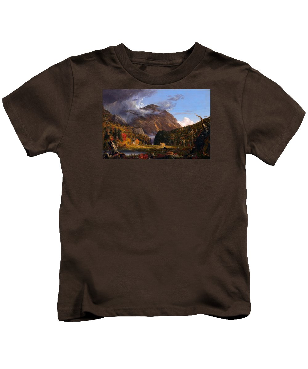 Painting Kids T-Shirt featuring the painting A View Of The Mountain Pass Called The Notch Of The White Mountains by Mountain Dreams
