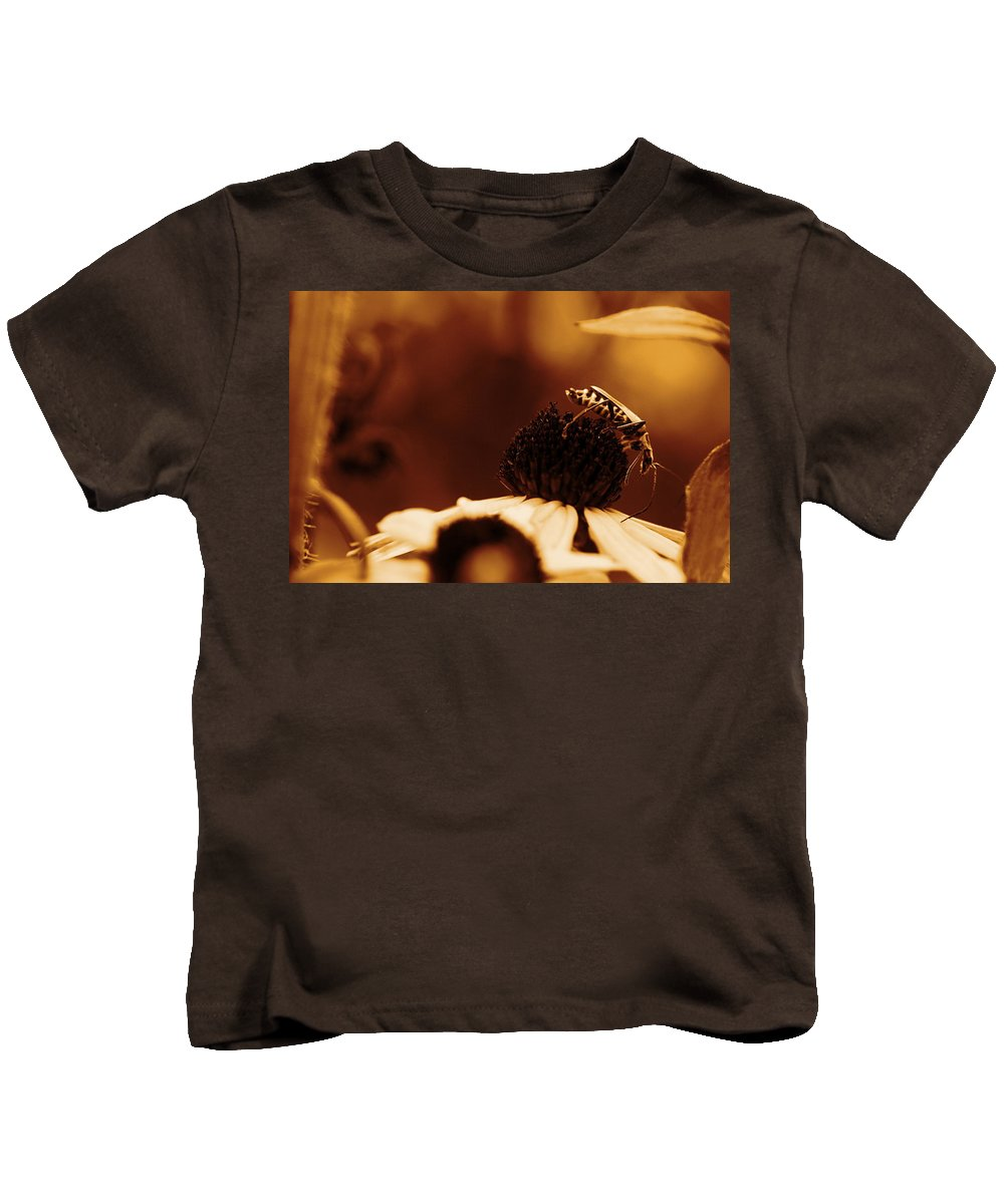 Leatherwing Kids T-Shirt featuring the photograph Anyone Else Down There - Gold by Angela Rath