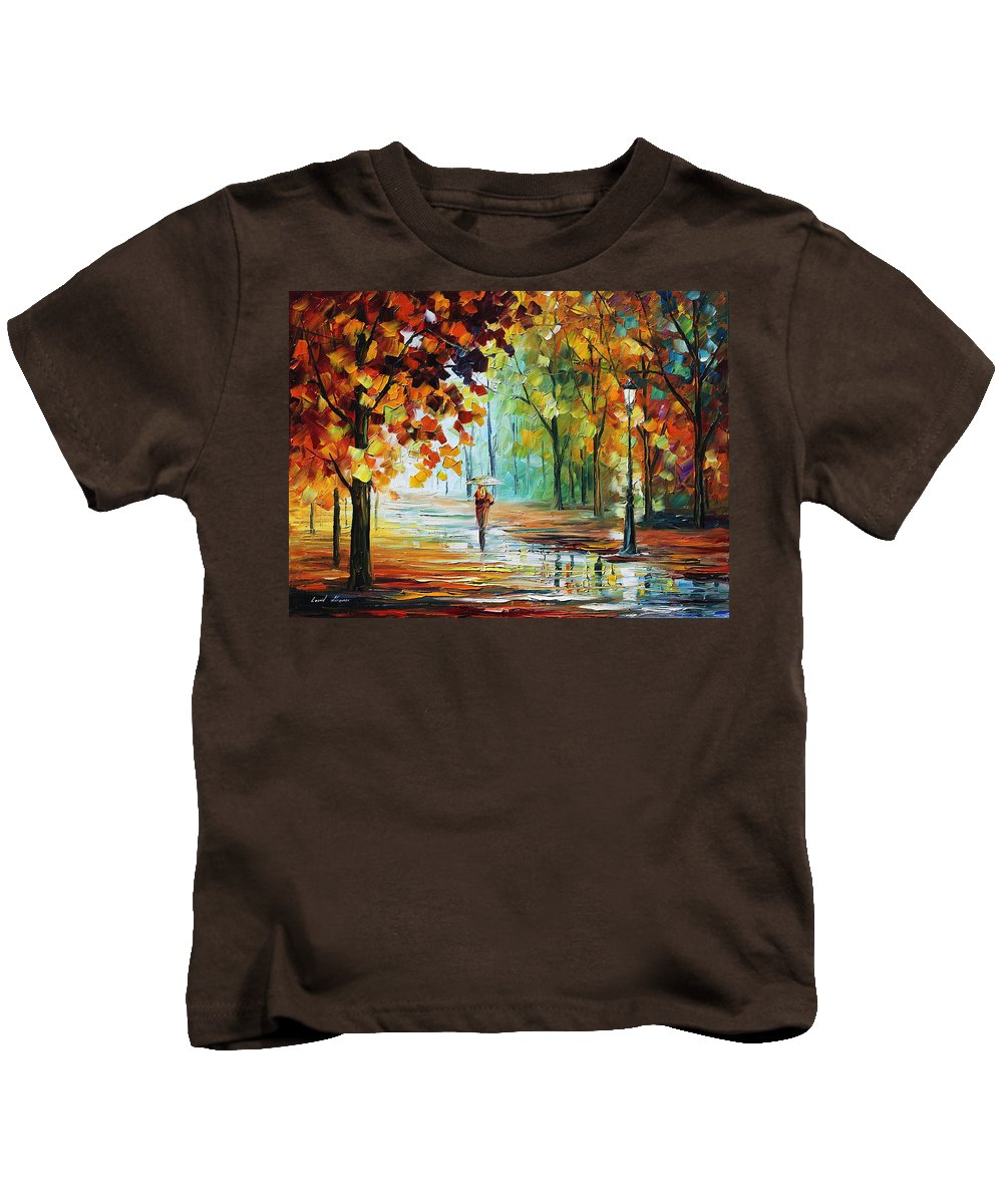 Afremov Kids T-Shirt featuring the painting Autumn by Leonid Afremov