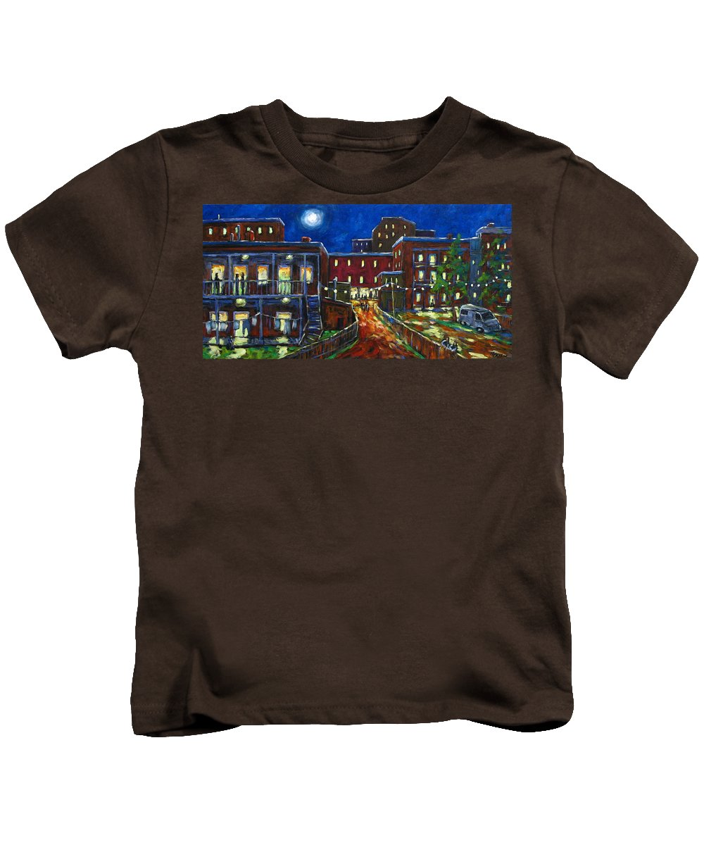 Town Kids T-Shirt featuring the painting Balconville by Richard T Pranke