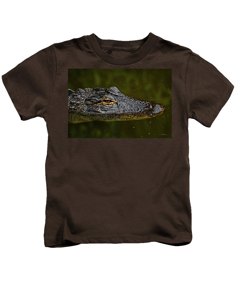 Alligator. Gator Kids T-Shirt featuring the photograph Brown Eye by Christopher Holmes