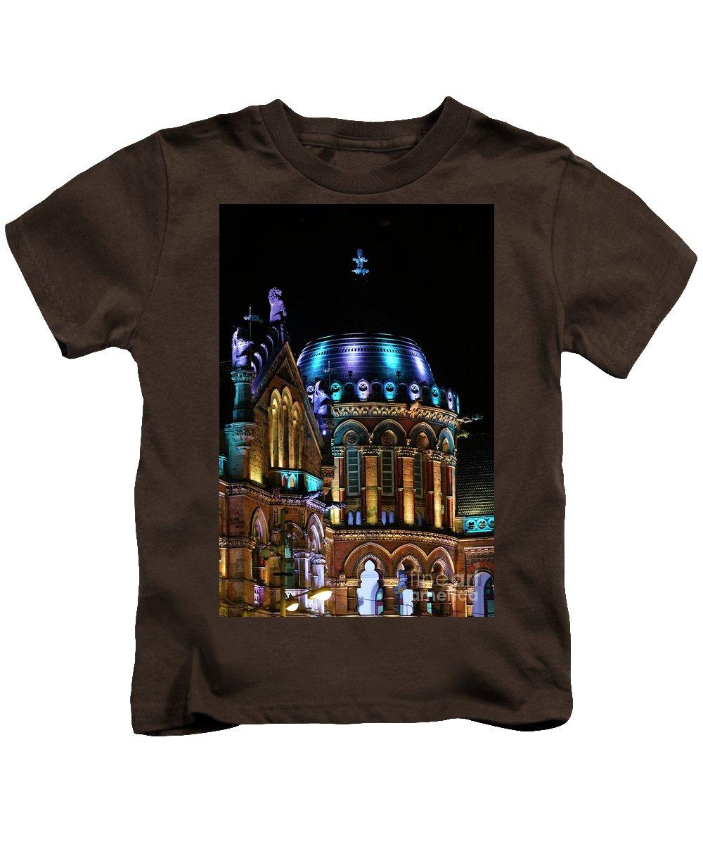 Mumbai Kids T-Shirt featuring the photograph Chhatrapati Shivaji Terminus Formerly Victoria Terminus In Mumbai-4 by Milind Ketkar
